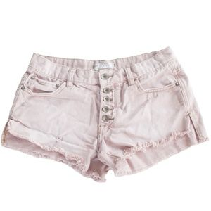 Free People Size 25 Dusty Rose Button Fly Shorts